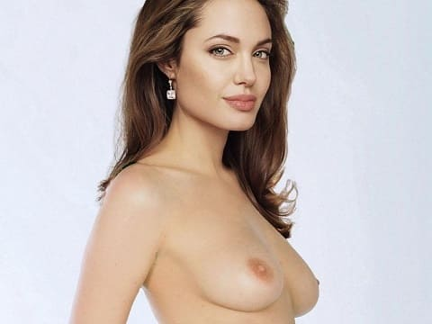 Angelina Jolie shows nude tits for Playboy