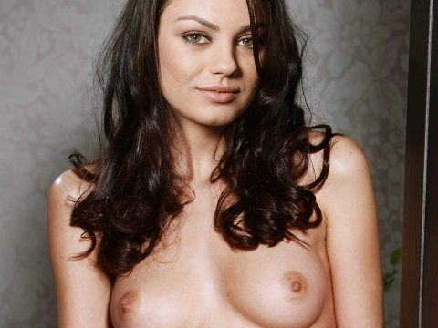 Mila Kunis shows nude tits for Playboy