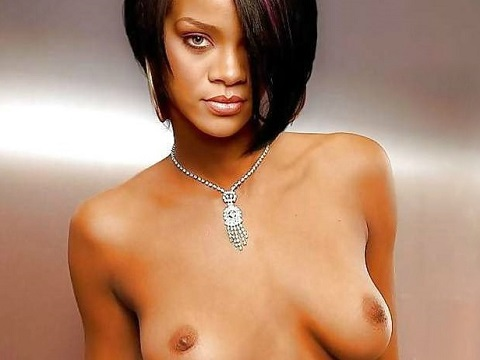 Rihanna shows nude tits for Playboy